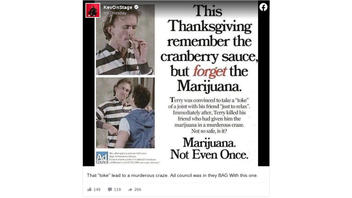 Fact Check: This Thanksgiving Themed Anti-Marijuana Ad Is NOT Genuine -- It's A Tribute To A 1980s Slasher Flick