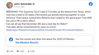 Fact Check: The Supreme Court Did NOT Vote 6-3 To Take Up Texas AG's Lawsuit Over Election, NOR Did Tennessee Join