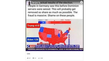 Fact Check:  'Actual Results Of The Election' Do NOT Show Donald Trump With More Electoral College Votes Than Joe Biden