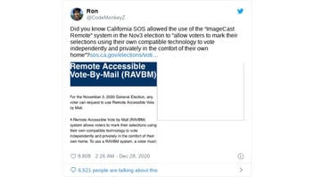Fact Check: Some California Counties DID Allow Voters To Use ImageCast Remote Software To Mark Mail-In Ballots, But There's No Evidence It's Not Secure