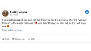 Fact Check: Calling 999 If You're Kidnapped, Then Pressing 55, Will NOT Let Police Know You Can't Talk