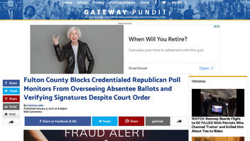 Fact Check: Fulton County Did NOT Defy Court Order Against Blocking Credentialed Republican Poll Monitors From Viewing Absentee Ballots In Georgia U.S. Senate Runoff