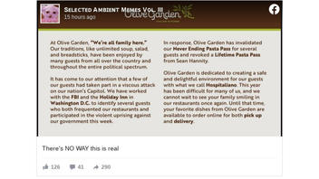 Fact Check: Olive Garden Did NOT Revoke 'Never Ending Pasta Pass' For Sean Hannity And Capitol Insurrectionists