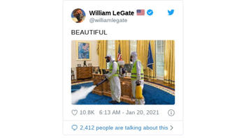 Fact Check: Photo Of Two People Fumigating The Oval Office Is NOT The Trump Oval Office