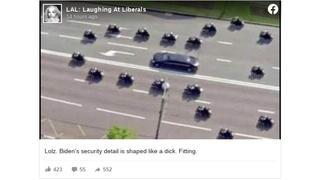 Fact Check: Old Photoshopped Phallic Motorcade Joke Resurfaces- Is NOT A Real Photo