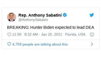 Fact Check: Hunter Biden Is NOT Expected To Lead DEA -- GOP Lawmaker Tweeted False Info