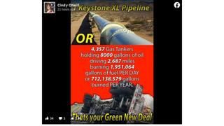 Fact Check: Calculations of Tanker Truck Fuel Needed To Replace Keystone XL Pipeline Capacity Does NOT Compute