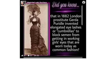 Fact Check: False Eyelashes Were NOT Invented By A Prostitute Named Gerda Puridle in 1882