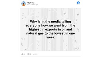 Fact Check: The United States Did NOT Go From The 'Highest' In Exports In Oil And Natural Gas To The 'Lowest' In One Week