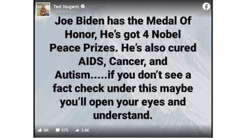 Fact Check: Joe Biden Does Not Have The Medal Of Honor, 4 Nobel Peace Prizes, And Did NOT Cure AIDS, Cancer, Autism
