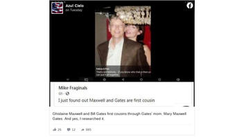 Fact Check: Bill Gates And Ghislaine Maxwell Are NOT First Cousins Through Gates' Mom, Mary Maxwell Gates