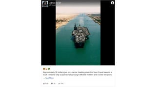Fact Check: Photo Of Aircraft Carrier In Suez Canal Is NOT Related To The Container Ship Grounded There