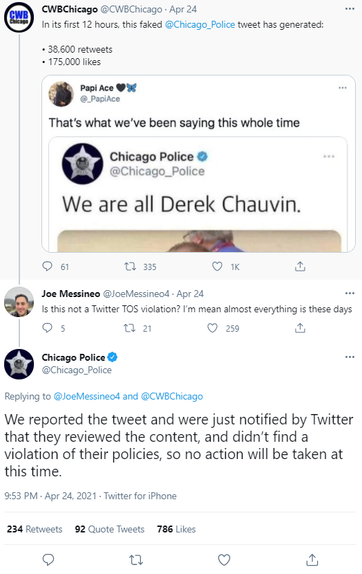 CPD reaction to fake chauvin tweet.PNG