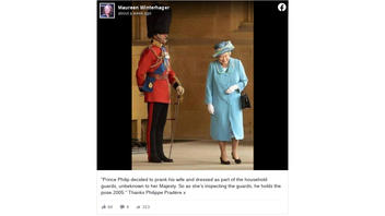 Fact Check: In This Picture, Queen Elizabeth Is NOT Laughing At Prince Philip Pranking Her