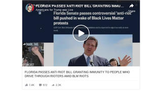 Fact Check: New Florida Law Does NOT Grant Total Immunity To 'People Who Drive Through Rioters' -- Only Civil Immunity