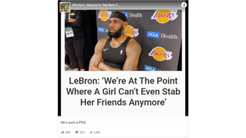 Fact Check: LeBron James Did NOT Say 'We're At The Point Where A Girl Can't Even Stab Her Friends Anymore' -- It's Satire