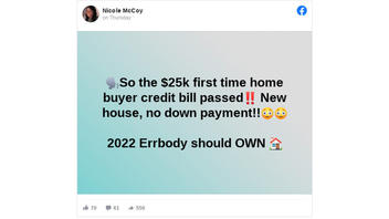 Fact Check: Proposed $25,000 First-Time Homebuyer Credit Act Is NOT Law