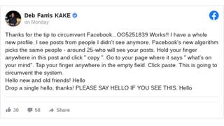 Fact Check: This Copy-And-Paste Message Does NOT Allow Facebook Users To Circumvent News Feed Algorithm