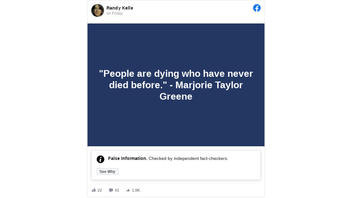 Fact Check: Marjorie Taylor Greene Did NOT Say 'People Are Dying Who Have Never Died Before'
