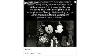 Fact Check: Disney World Character Performers Are NOT Left At Their Park Until It Closes If They Die While In Costume