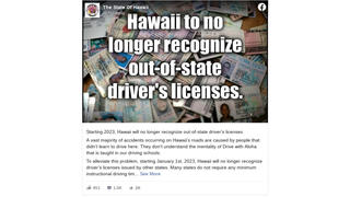Fact Check: Hawaii Did NOT Say It Will Stop Recognizing Out-of-State Driver's Licenses