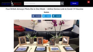 Fact Check: Four British Airways Pilots Did NOT Die In One Week And There Is NO Proof Deaths Were From COVID-19 Vaccine
