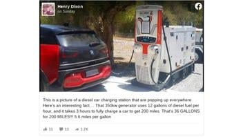 Fact Check: Photo Does NOT Show Electric Car Getting 5.6 Miles Per Gallon Charging Via Diesel Generator