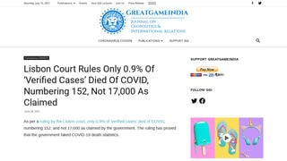 Fact Check: Lisbon Court Did NOT 'Rule' Only 0.9% Of Portugal's 'Verified Cases' Died Of COVID
