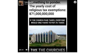 Fact Check: Taxing Churches Would NOT Mean Everyone Would Only Pay 3% Of Their Taxes