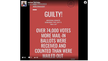 Fact Check: There Were NOT 'Over 74,000' More Mail-In Ballots Received, Counted In Maricopa County, Arizona, Than Were Mailed Out