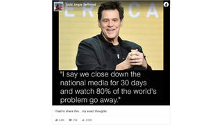 Fact Check: Jim Carrey Did NOT Say Shutting Down National Media For 30 Days Would Eliminate 80% Of World's Problems