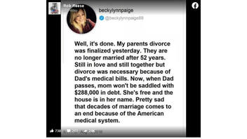 Fact Check: Tweet That Parents Divorced Over Debt And U.S. Medical System Does NOT Exist