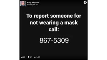 Fact Check: '867-5309' Is NOT A Number To Call To Report Maskless People -- It's From An Old Pop Song, And The Post Is A Joke