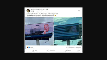 Fact Check: A Digital Billboard In Wilmington, NC, Was NOT Hacked To Show Unflattering Memes Of Biden -- The Memes Came From A 'Private Citizen'