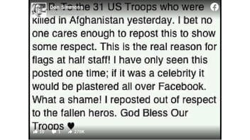 Fact Check: 31 US Troops Were NOT 'Killed In Afghanistan Yesterday' -- Recycled Post Is About 2011 Attack