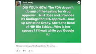 Fact Check: The NIH Does NOT Conduct All Testing Of New Drugs And Dr. Fauci's Wife Does NOT Control Drug Approval