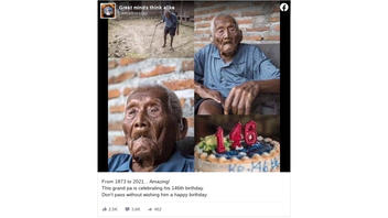 Fact Check: This Grandfather Did NOT Celebrate His 146th Birthday in 2021