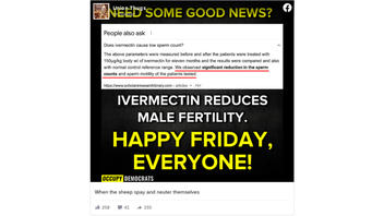 Fact Check: Claims That Ivermectin Sterilizes 85% Of Men Who Take It Are NOT Supported With Clear Evidence