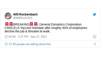 Fact Check: General Dynamics Has NOT Canceled Vaccine Mandate -- Company Has Yet To Make Any Announcement On Vaccinations Or Tests For Employees