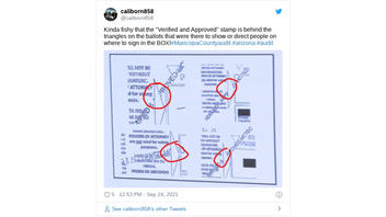 Fact Check: Ballots In Arizona Audit Did NOT Show 'Verified & Approved' Stamps Behind Triangles