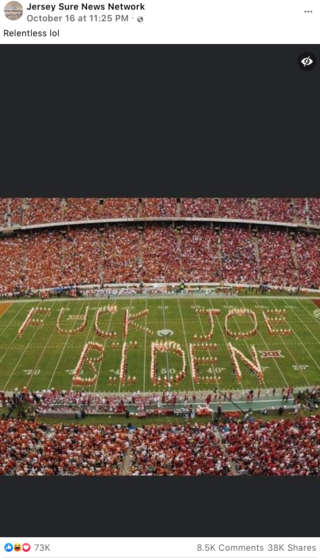 Fact Check: Image of Anti-Joe Biden Band Formation In Football Stadium Is NOT Real
