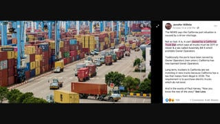 Fact Check: LA Cargo Ship Traffic Jam Is NOT Caused By 'California Truck Ban' Legislation