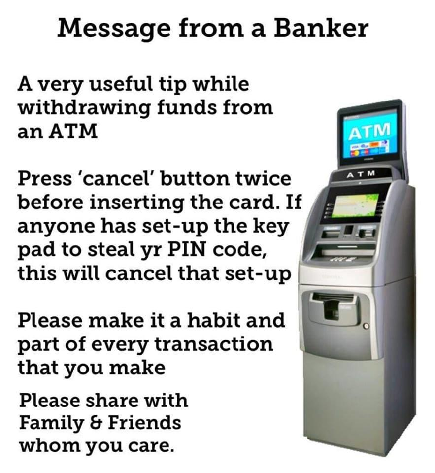 Fake News: Pressing Cancel Twice Before Inserting Card Will NOT Protect You From ATM PIN Theft