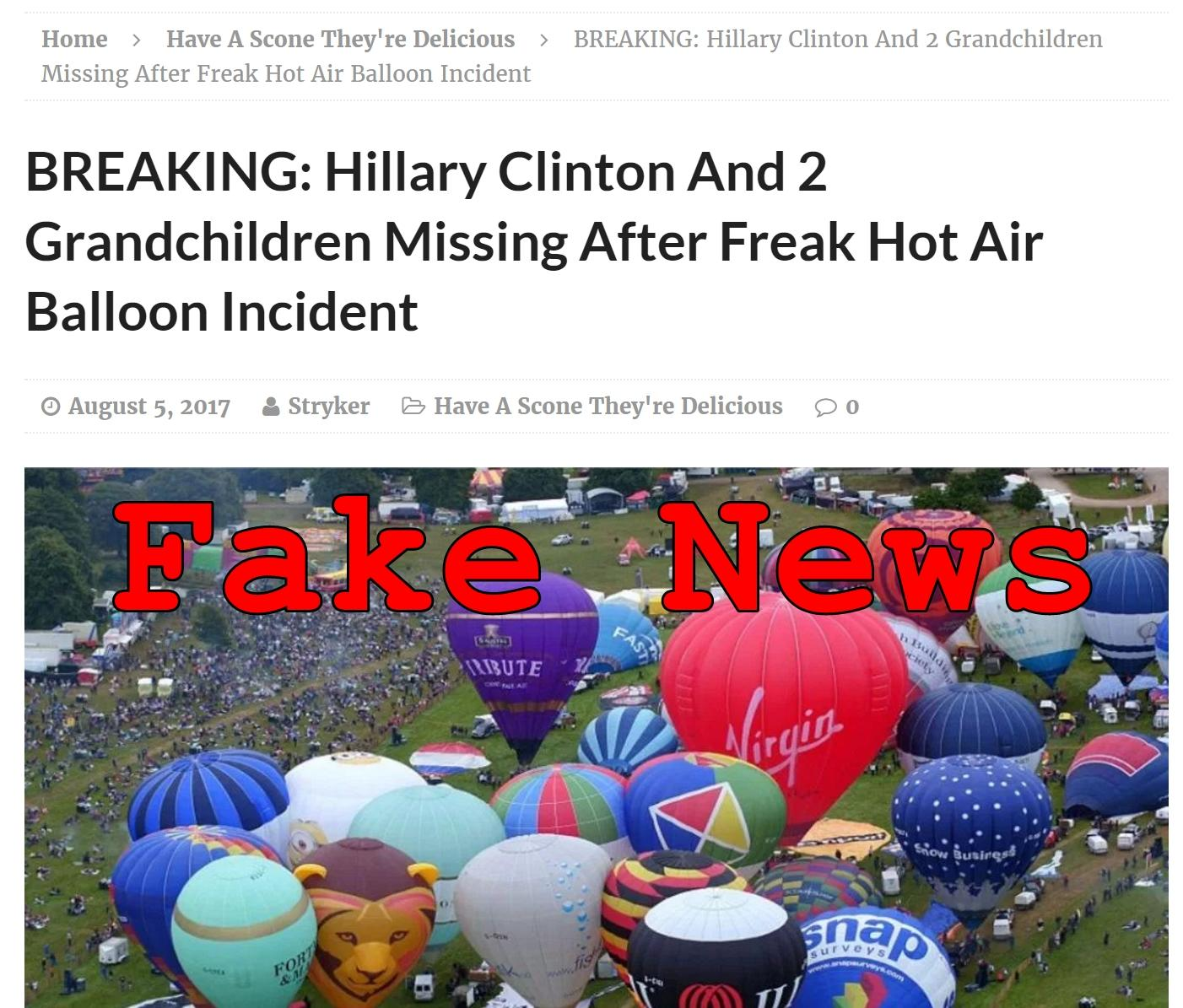 Fake News: Hillary Clinton Did NOT Die In Hot Air Balloon Accident