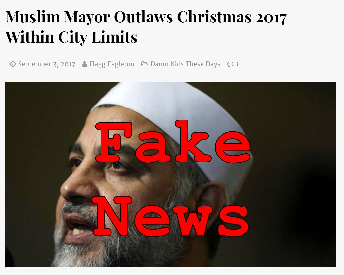 Fake News: Muslim Mayor Did NOT Outlaw Christmas 2017 Within City Limits