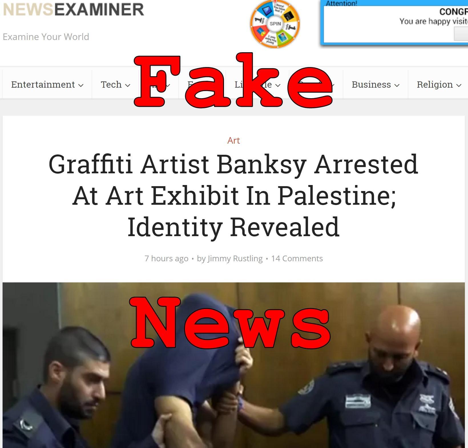 Fake News: Graffiti Artist Banksy NOT Arrested At Art Exhibit In Palestine; Identity NOT Revealed