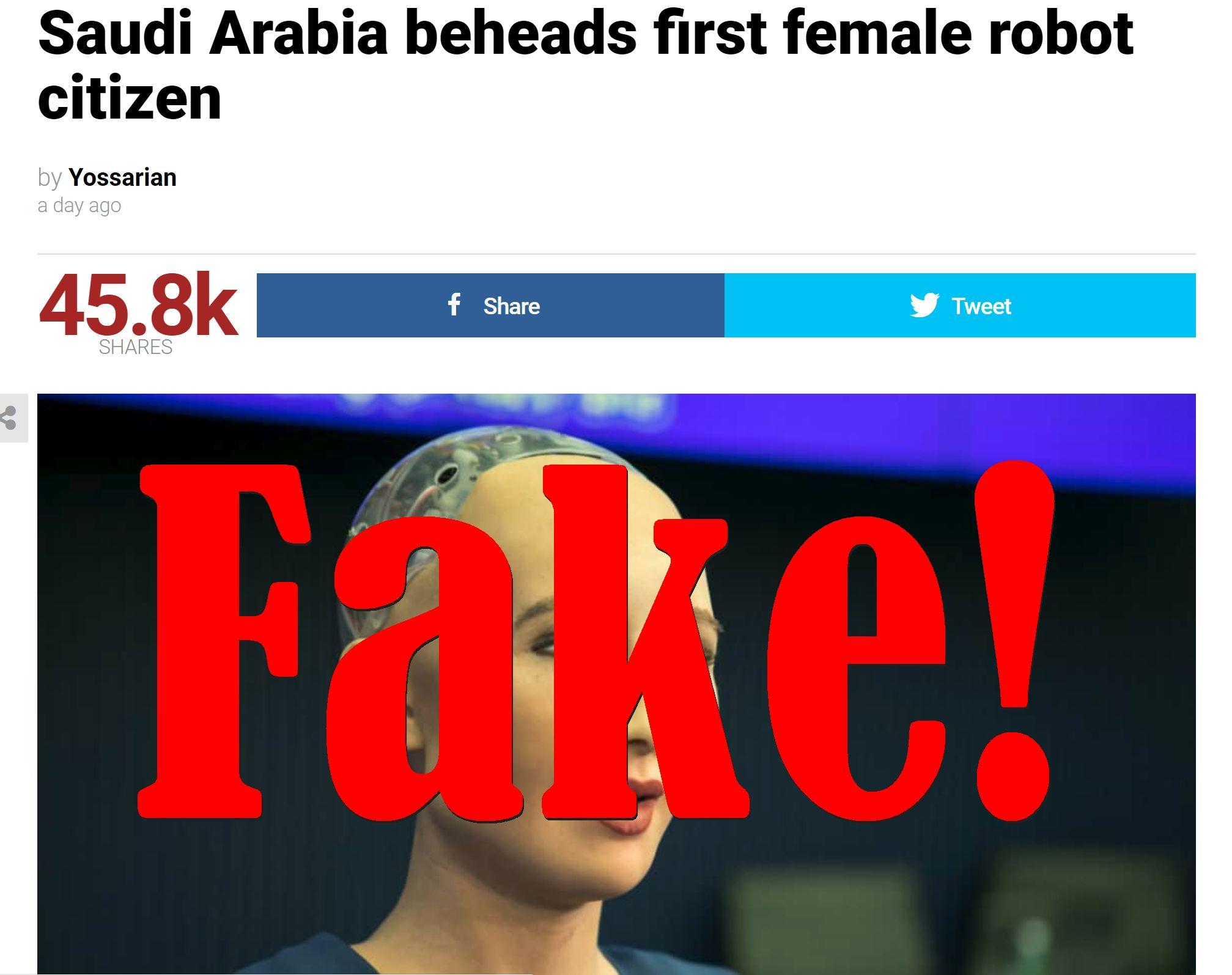 Fake News: Saudi Arabia Did NOT Behead First Female Robot Citizen