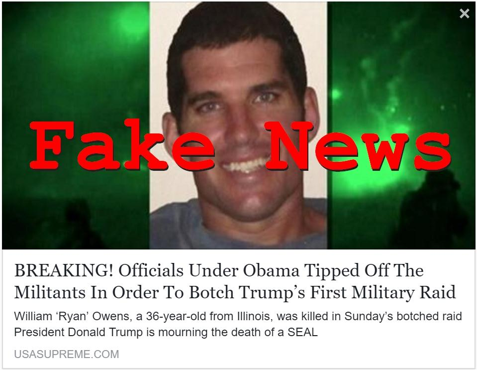 Fake News: Did Officials Under Obama Tip Off The Militants In Order To Botch Trump's First Military Raid?