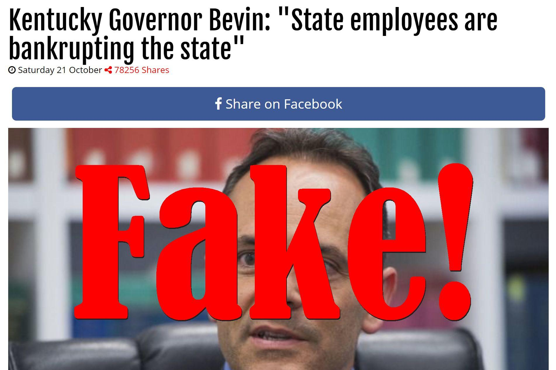 Fake News: Kentucky Governor Bevin Did NOT Say State Employees Are Bankrupting The State