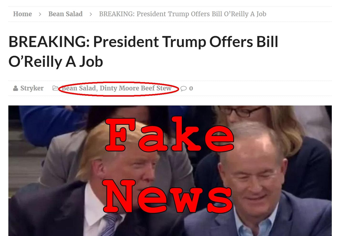 Fake News: President Trump Did NOT Offer Bill O'Reilly A Job